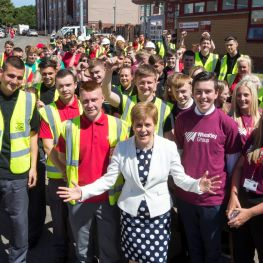 First Minister is joined by apprentices at EIB funding deal