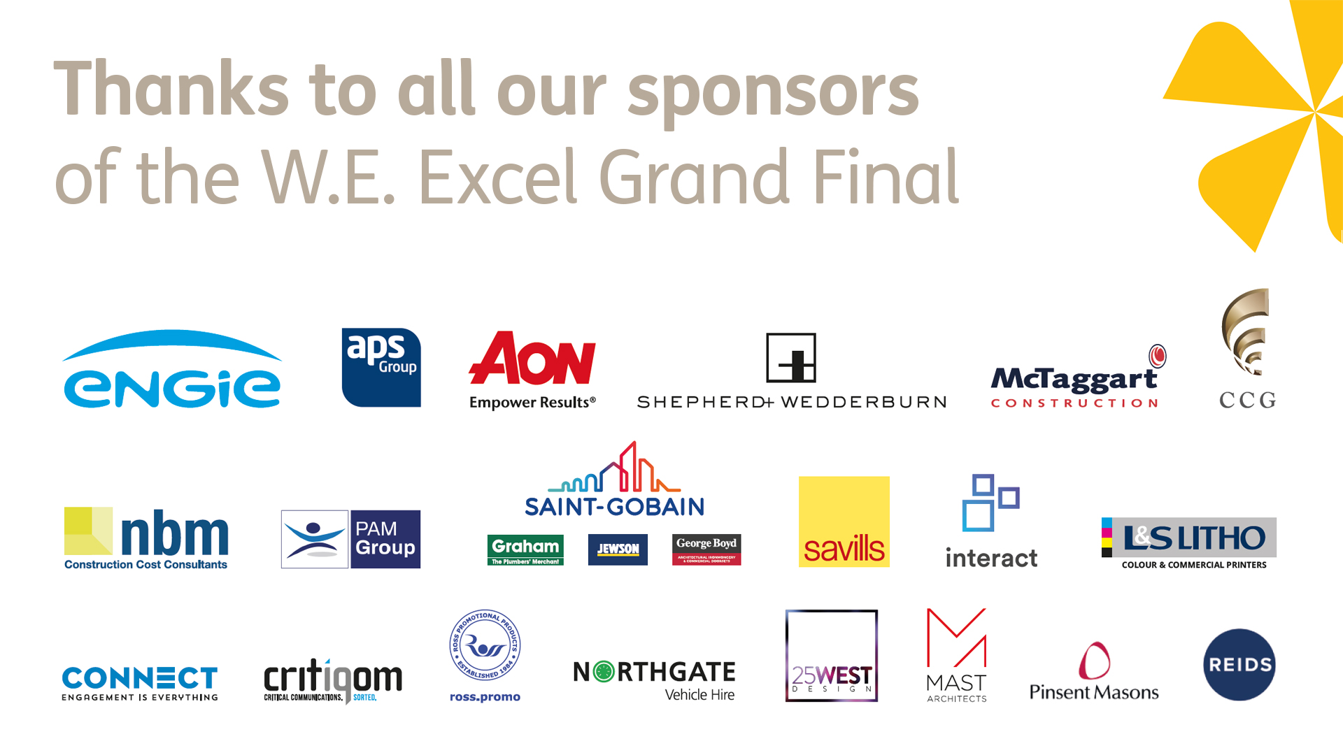 W.E. Excel awards sponsors